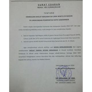surat edaran walikota samarinda